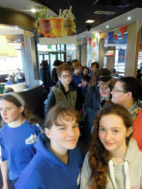 Long queue in McDonald's Athlone
