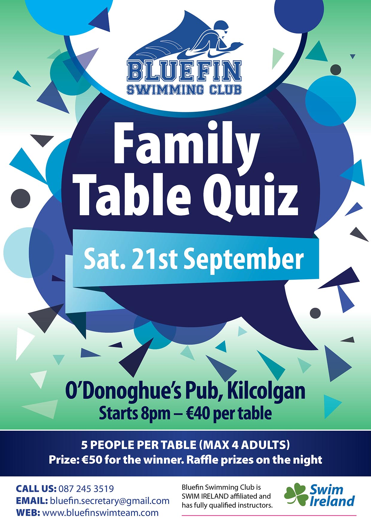 Bluefin Table Quiz Fundraiser | Bluefin Swim Team